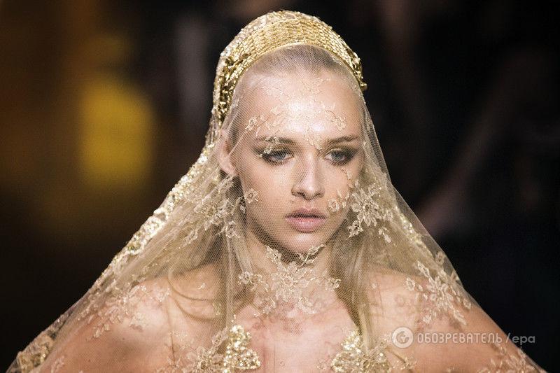 Elie Saab показал в Париже золотое свадебное платье, от которого захватывает дух