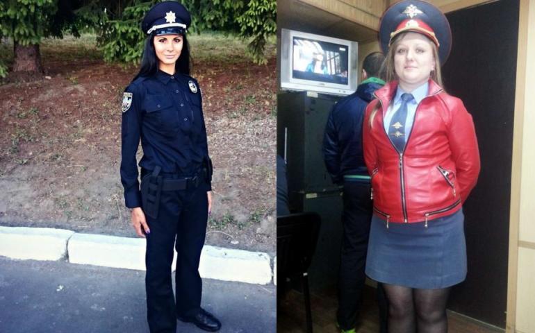 Українські красуні-копи проти російських поліцейських: промовисті фото