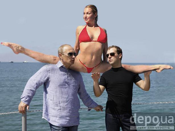 Волочкова сіла на шпагат на спинах Путіна і Медведєва (ФОТОЖАБИ)