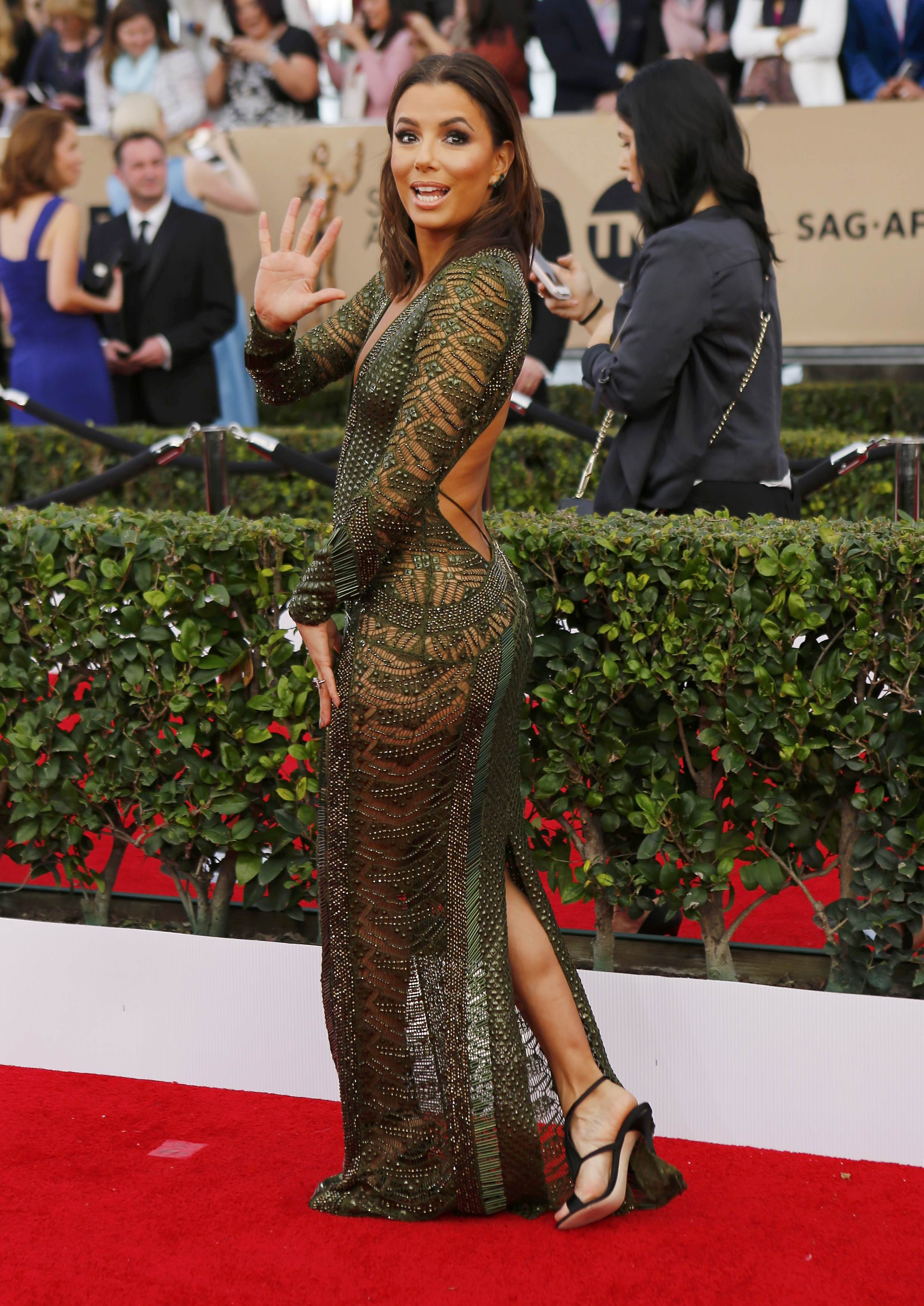 Actress Eva Longoria arrives at the 22nd Screen Actors Guild Awards in Los Angeles
