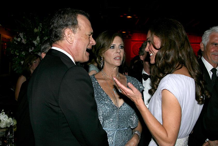 LOS ANGELES, CA - JULY 9:  Catherine, Duchess of Cambridge (R), Tom Hanks and Rita Wilson attend the BAFTA