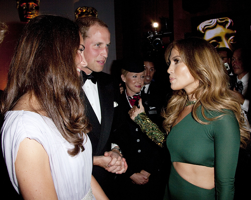 LOS ANGELES, CA - JULY 09:  Prince William, Duke of Cambridge and Catherine, Duchess of Cambridge speaks to Jennifer Lopez at the 2011 BAFTA Brits To Watch Event at the Belasco Theatre on July 9, 2011 in Los Angeles, California. The newlywed Duke and Duchess of Cambridge were in attendance on the ninth day of their first joint overseas tour visiting Canada and the United States. (Photo by Mark Large - Pool/Getty Images)